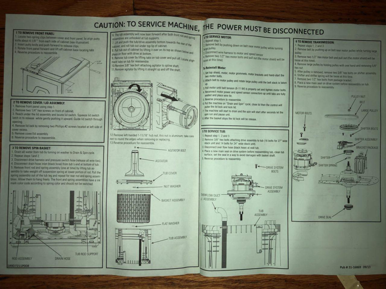 Ge Washerdryer Combo Model Gud27gssj0ww Service Manual Iskander Agitator Basket And Tub Diagram Parts List For Whirlpool Washer