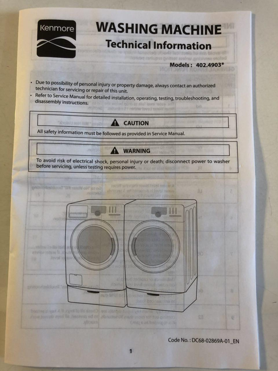 Kenmore Washer Model 402 49032012 Service Manual